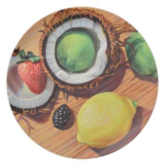 Unité de noix de coco de citron de chaux de assiette