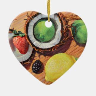 Unité de noix de coco de citron de chaux de ornement cœur en céramique