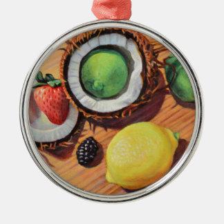 Unité de noix de coco de citron de chaux de ornement rond argenté