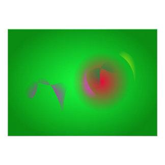 Univers vert et un soleil rouge invitations