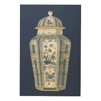 Urne asiatique décorative dans bleu et blanc impression sur bois