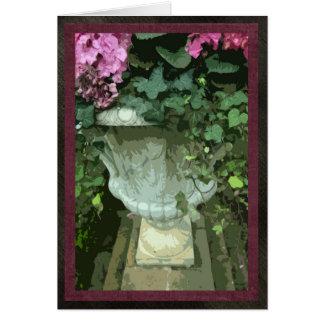 """Urne avec des hortensias, carte, 5"""" x7"""", vide carte de vœux"""