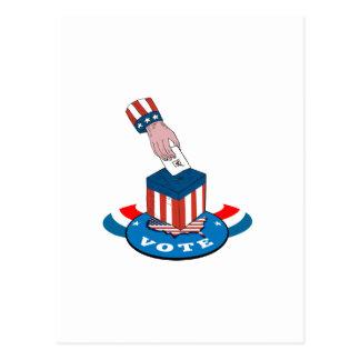 Urne de vote d'élection américaine rétro cartes postales