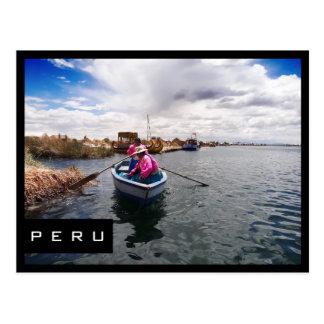 Uros carte postale noire de cadre sur Lac