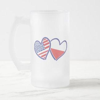 USA-POLISH-FLAG-HEARTS FROSTED GLASS BEER MUG