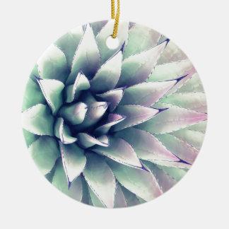 Usine d'agave ornement rond en céramique