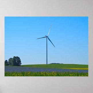 Usine d'énergie éolienne - affiche