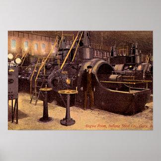 Usine sidérurgique 1910 de salle des machines de G Affiche