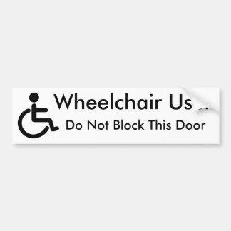 Utilisateur de fauteuil roulant - ne bloquez pas autocollant pour voiture