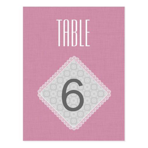 V42 ROSE et BLANC de nombre de Tableau de mariage  Carte Postale