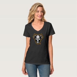 V-Cou de dames de vache au Wisconsin (noir) T-shirt