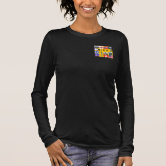 V - noir de douille de Shetland 3/4 de cou T-shirt À Manches Longues