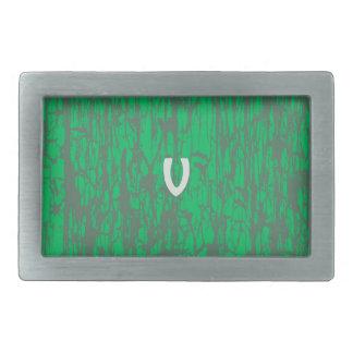V sur la ceinture verte boucle de ceinture rectangulaire
