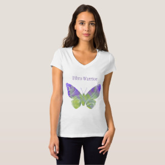 V - T-shirt fibro de papillon de cou
