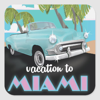 Vacances à l'affiche de voyage de Miami Sticker Carré