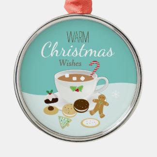 Vacances de biscuits de Noël et de chocolat chaud Ornement Rond Argenté