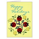 Vacances de coccinelle cartes de vœux