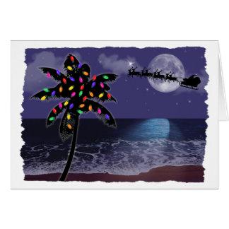 Vacances de Noël de clair de lune d'océan Carte De Vœux