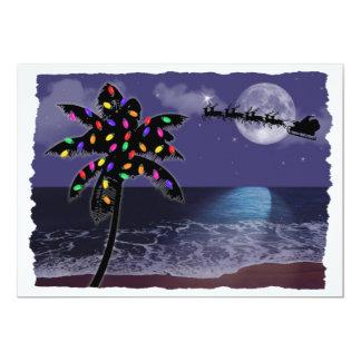 Vacances de Noël de clair de lune d'océan Cartons D'invitation