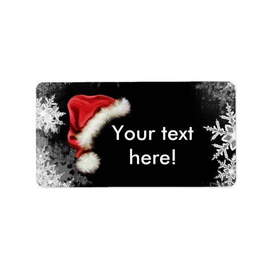 Vacances de Noël de flocon de neige de chapeau de Étiquette D'adresse