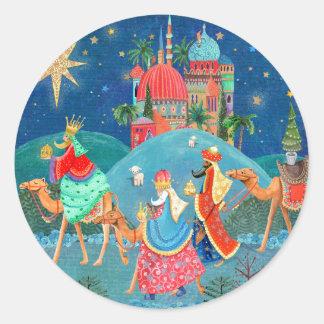 Vacances | de Noël trois autocollant des rois |