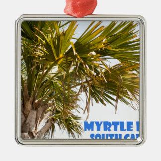 Vacances de palmier de Myrtle Beach la Caroline du Ornement Carré Argenté