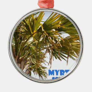 Vacances de palmier de Myrtle Beach la Caroline du Ornement Rond Argenté