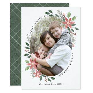 Vacances florales - carte photo de Noël Carton D'invitation 12,7 Cm X 17,78 Cm