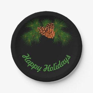 Vacances heureuses - détail de pin-cône assiettes en papier