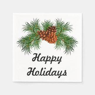 Vacances heureuses - détail de pin-cône serviette en papier