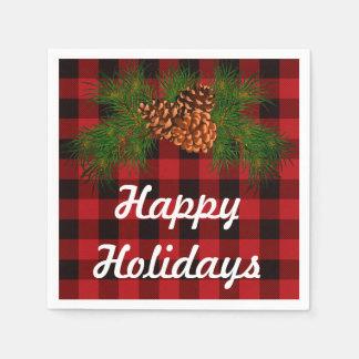 Vacances heureuses - détail de pin-cône serviette jetable