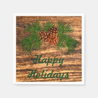 Vacances heureuses - détail rustique de pin-cône serviette en papier