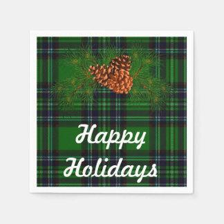 Vacances heureuses - tartan vert avec le détail de serviette jetable