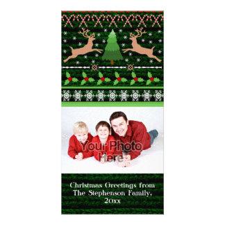 Vacances laides drôles de chandail de Noël Cartes De Vœux Avec Photo