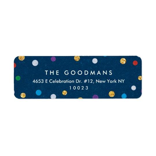 Vacances/partie colorées mignonnes de confettis étiquette d'adresse retour