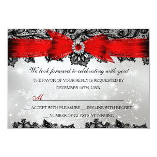 Vacances rouges argentées RSVP de Noël de dentelle Carton D'invitation 8,89 Cm X 12,70 Cm