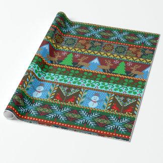 Vacances tricotées de renne de bonhommes de neige papiers cadeaux noël