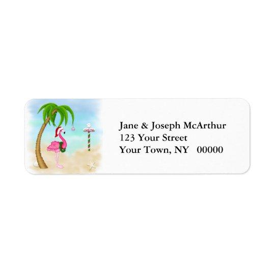Vacances tropicales de flamant rose étiquette d'adresse retour