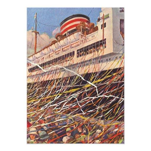Vacances vintages de bateau de croisière ; Partie Carton D'invitation 12,7 Cm X 17,78 Cm