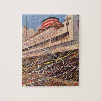 Vacances vintages de bateau de croisière ; Partie Puzzle