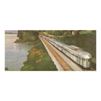 Vacances vintages par chemin de fer, locomotive carte publicitaire