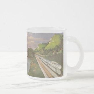 Vacances vintages par chemin de fer, locomotive mug en verre givré