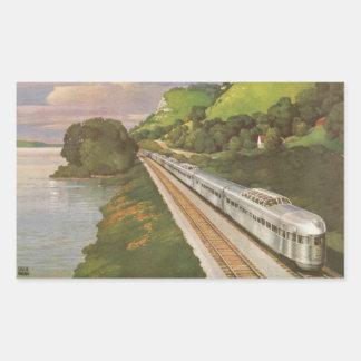 Vacances vintages par chemin de fer, locomotive sticker rectangulaire