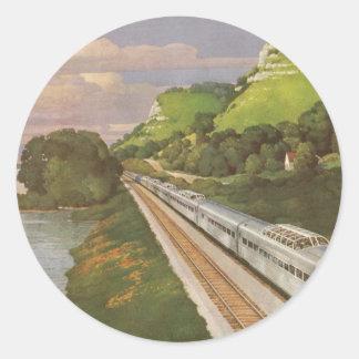 Vacances vintages par chemin de fer, locomotive sticker rond