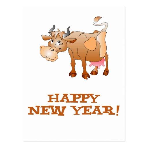 Vache à bonne année carte postale