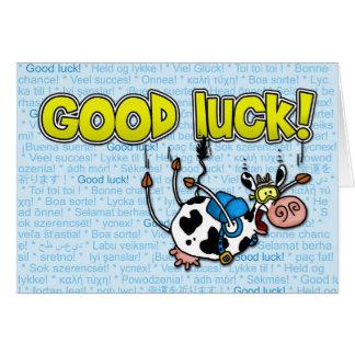 vache à bonne chance - skydive carte de vœux