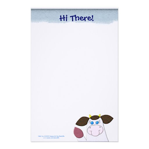 """Vache à houx """"salut là ! """" papier à lettre customisé"""