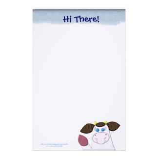 """Vache à houx """"salut là ! """" papier à lettre"""