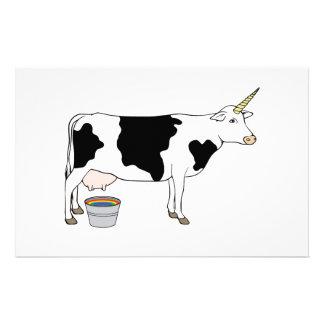 Vache à lait magique de laiterie de licorne papiers à lettres