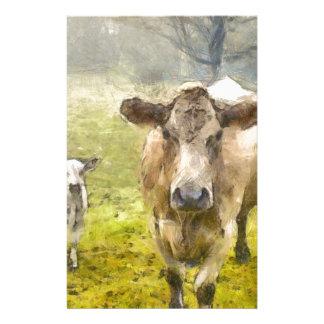 Vache à mamans et à bébé papier à lettre personnalisable